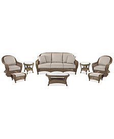 Sandy Cove Outdoor Wicker 8-Pc. Seating Set (1 Sofa, 2 Swivel Gliders, 2 Ottomans, 1 Coffee Table and 2 End Tables) Custom Sunbrella®, Created for Macy's