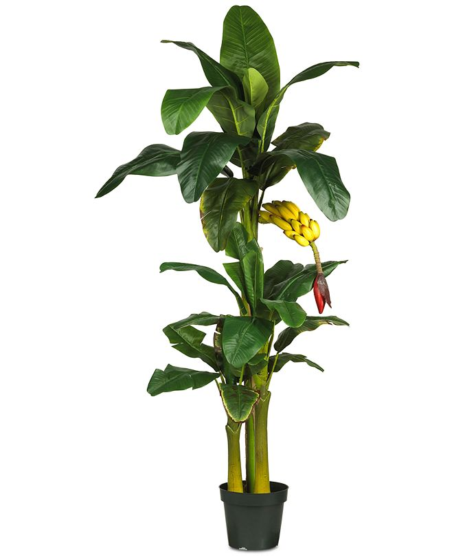 Nearly Natural 6' Artificial Triple Stalk Banana Tree