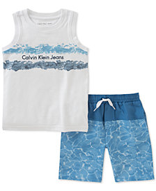 Calvin Klein 2-Pc. Graphic-Print T-Shirt & Shorts Set, Toddler Boys