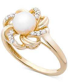 Cultured Freshwater Pearl (6mm) & Diamond (1/10 ct. t.w.) Flower Statement Ring in 14k Gold