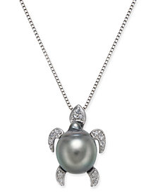 "Cultured Tahitian Black Pearl (10mm) & Diamond (1/10 ct. t.w.) Turtle 18"" Pendant Necklace in Sterling Silver"