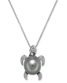"""Cultured Tahitian Black Pearl (10mm) & Diamond (1/10 ct. t.w.) Turtle 18"""" Pendant Necklace in Sterling Silver"""