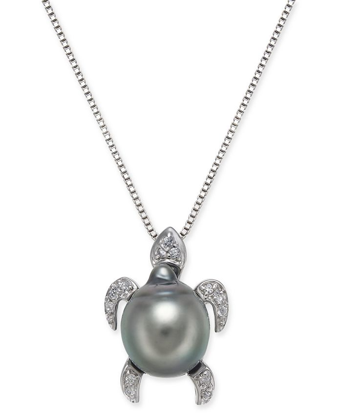 """Macy's - Cultured Tahitian Black Pearl (10mm) & Diamond (1/10 ct. t.w.) Turtle 18"""" Pendant Necklace in Sterling Silver"""