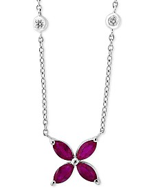 "EFFY® Ruby (7/8 ct. t.w.) & Diamond (1/10 ct. t.w.) Flower 18"" Pendant Necklace in 14k White Gold"