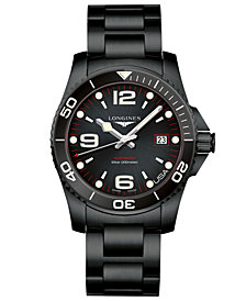 Longines Men's Swiss Automatic HydroConquest Black PVD Stainless Steel Bracelet Watch 41mm, Created for Macy's