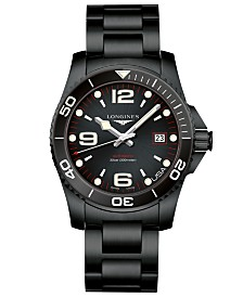 Longines Men's Swiss Automatic HydroConquest Black PVD Stainless Steel Bracelet Watch 41mm
