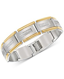 Esquire Men's Jewelry Diamond Link Bracelet (1/2 ct. t.w.) in Stainless Steel & Gold-Tone Ion-Plate, Created for Macy's