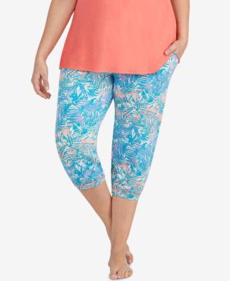 Plus Size Printed Cropped Jogger Pajama Pants