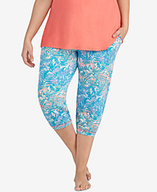Layla Plus Size Printed Cropped Jogger Pajama Pants