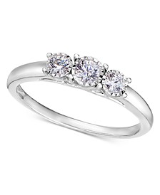 14k White Gold Ring, Diamond Three-Stone Ring (1/4 ct. t.w.)