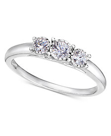 TruMiracle® 14k White Gold Ring, Diamond Three-Stone Ring (1/4 ct. t.w.)