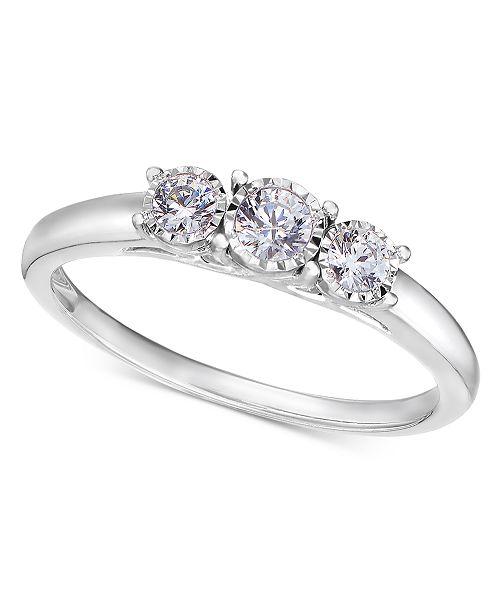 90623c2607c92 14k White Gold Ring, Diamond Three-Stone Ring (1/4 ct. t.w.)