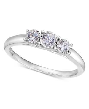 TruMiracle 14k White Gold Ring, Diamond Three-Stone Ring (1/4 ct. t.w.)