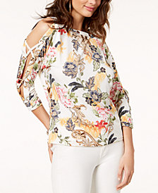 Thalia Sodi Embellished Split-Sleeve Top, Created for Macy's