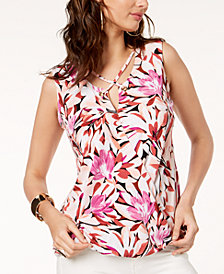 Thalia Sodi Floral-Print Lattice-Neck Top, Created for Macy's