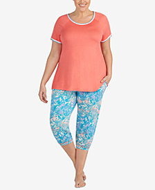 Layla Plus Size Contrast-Trim Pajama Top & Cropped Pajama Pants Sleep Separates