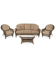 Sandy Cove Outdoor Wicker 4-Pc. Seating Set (1 Sofa, 2 Club Chairs and 1 Coffee Table) Custom Sunbrella®, Created for Macy's