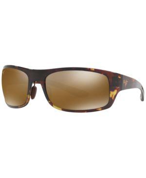 MAUI JIM Big Wave H440 15T Olive Tortoise Rectangle Sunglasses in Green Matte/Bronze Polar