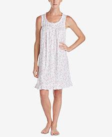 Eileen West Floral-Print Ruffle-Trim Knit Nightgown