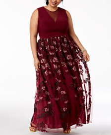 Morgan & Company Trendy Plus Size Embroidered Gown