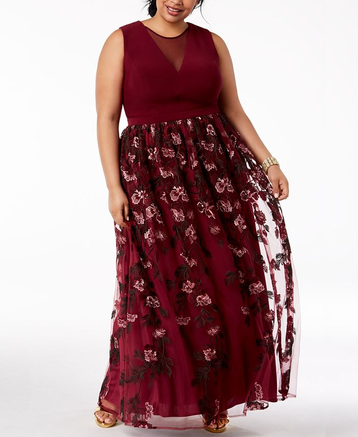 Morgan & Company - Trendy Plus Size Embroidered Gown