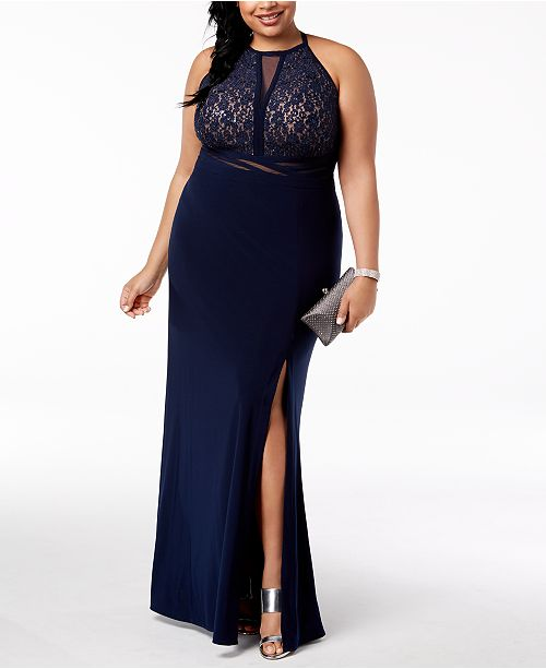 Morgan & Company Trendy Plus Size Open-Back Gown