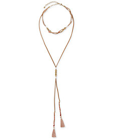 "Lucky Brand Gold-Tone Bead & Tassel Leather Layered Lariat Necklace, 12-1/4"" + 2"" extender"