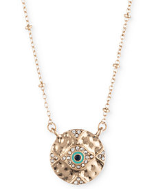 "lonna & lilly Gold-Tone Pavé Evil Eye Pendant Necklace, 16"" + 3"" extender, Created for Macy's"
