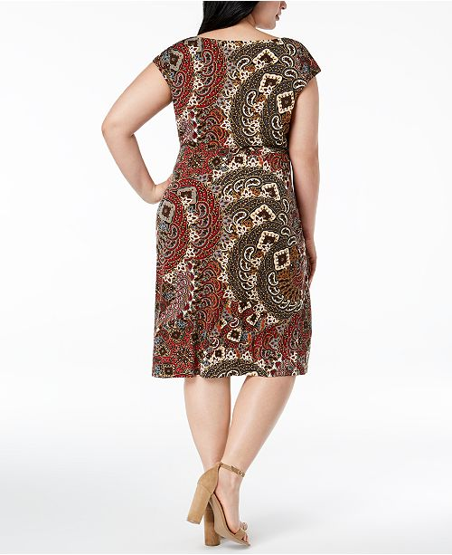 Connected Plus Size Printed Sarong Dress Dresses Women Macys