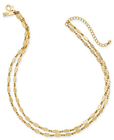 "I.N.C. Gold-Tone Leaf Double-Row Necklace, 16""/17"" + 3"" extender, Created for Macy's"
