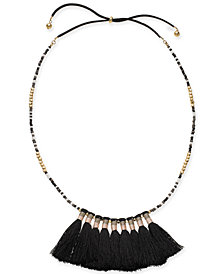 "I.N.C. Gold-Tone Bead & Tassel 20"" Slider Necklace, Created for Macy's"