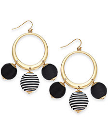 "I.N.C. Large 2.5"" Gold-Tone Wrapped Ball Drop Hoop Earrings, Created for Macy's"