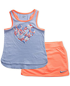 Nike Little Girls 2-Pc. Heart-Print Tank Top & Scooter Skort Set