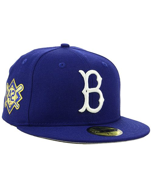 897ba15f46410a ... New Era Jackie Robinson Brooklyn Dodgers Patch 59FIFTY Fitted Cap ...
