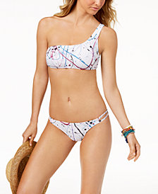 Volcom Juniors' Spray It Printed One-Shoulder Bikini Top & Strappy Bottoms