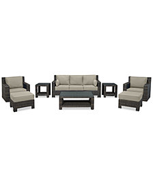 Viewport Outdoor Wicker 8-Pc. Seating Set (1 Sofa, 2 Swivel Gliders, 2 Ottomans, 1 Coffee Table & 2 End Tables) with Custom Sunbrella® Colors, Created for Macy's