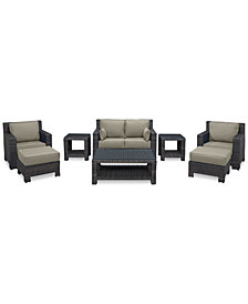 Viewport Outdoor Wicker 8-Pc. Seating Set (1 Loveseat, 2 Club Chairs, 2 Ottomans, 1 Coffee Table & 2 End Tables) with Custom Sunbrella® Colors, Created for Macy's