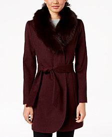 Forecaster Fox-Fur-Trim Belted Wrap Coat