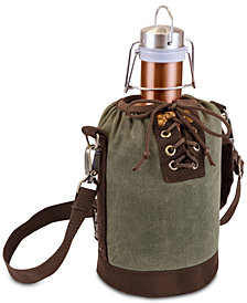 Picnic Time Insulated Khaki Green & Brown Growler Tote with 64-Oz. Copper Stainless Steel Growler