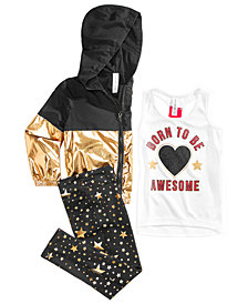 Ideology Little Girls Metallic Hooded Zip-Up Jacket, Graphic-Print Tank Top & Printed Leggings, Created for Macy's