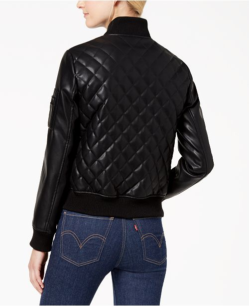 Diamond Bomber Faux French Quilted Connection Leather Black Jacket a54xqBwXOn