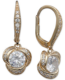 Giani Bernini Cubic Zirconia Love Knot Drop Hoop Earrings, Created for Macy's