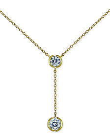 "Giani Bernini Cubic Zirconia Bezel Lariat Necklace, 18"" + 3"" Extender, Created for Macy's"