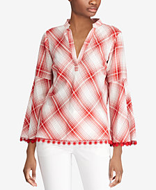 Lauren Ralph Lauren Plaid Bell-Sleeve Cotton Top