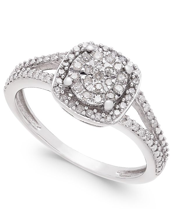 Promised Love Cushion-Cut Diamond Promise Ring (1/4 ct. t.w.) in Sterling Silver