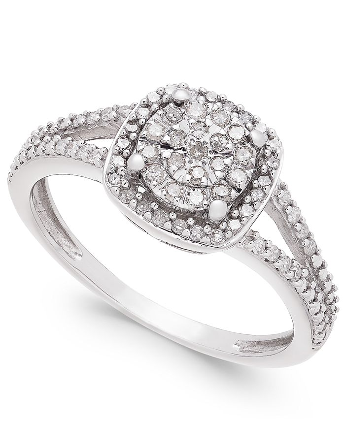 Promised Love - Cushion-Cut Diamond Promise Ring (1/4 ct. t.w.) in Sterling Silver