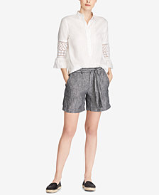 Lauren Ralph Lauren Lace Bell-Sleeve Top and Linen Shorts