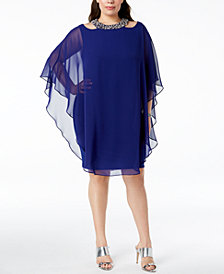 XSCAPE Plus Size Embellished Cape-Overlay Dress