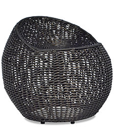Outdoor Open Weave Wicker Stool, Quick Ship