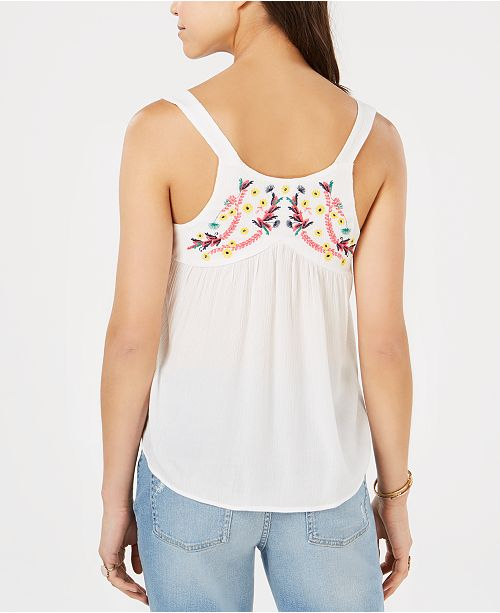Juniors' Embroidered Top Ivory Sleeveless Esteem Self 5q1WAHp5